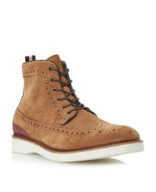 Counter brogue wedge lace up boots