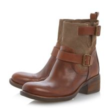 Portos leather mix double buckle boots