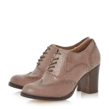 Junni Stack Block Heel Leather Brogue