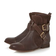 Promo washed leather ankle boot