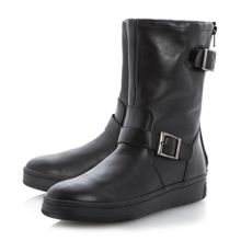 Racket leather biker boot
