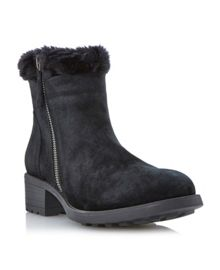 Purry Faux Fur Cuff Suede Ankle Boot