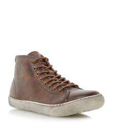 Sweeper lace up distressed hi top trainers