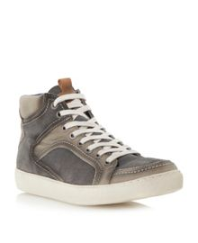Soka lace up distressed hi top trainers