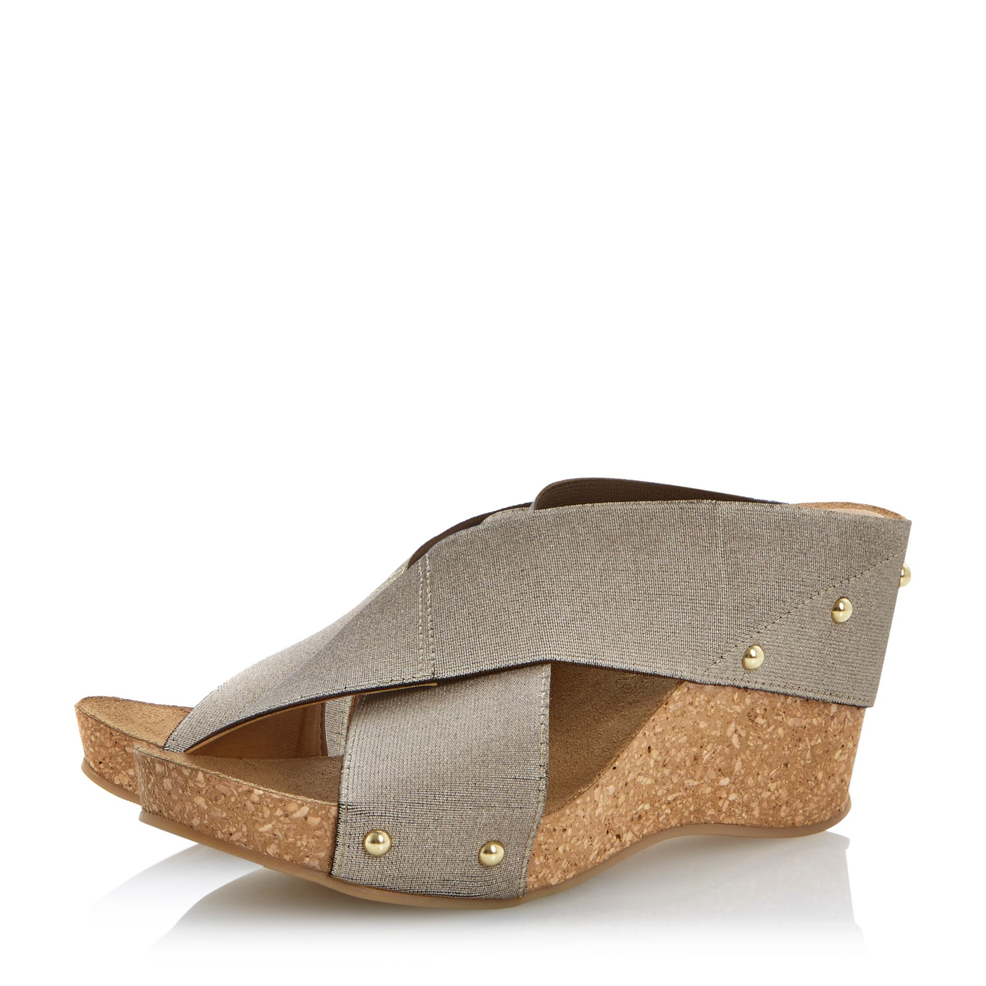 Gingerbread fabric wedge sandals