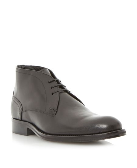 Dune Black Mackintosh plain toe 3 eye chukka boots
