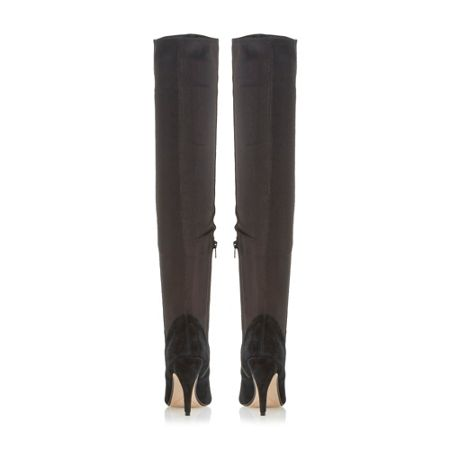Dune Stretchy Leather Round Toe High Boots