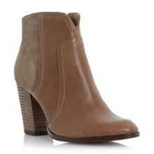 Pollo suede-mix stacked heel ankle boot