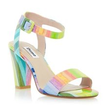 Monet striped patent block sandal
