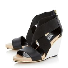 Dune Kaye crossover strap wedge sandals