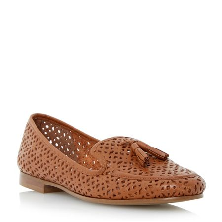 Dune Galla laser cut leather loafers