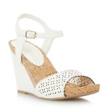 Kelsie laser cut wedge sandal