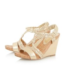 Kendra plaited strap wedge