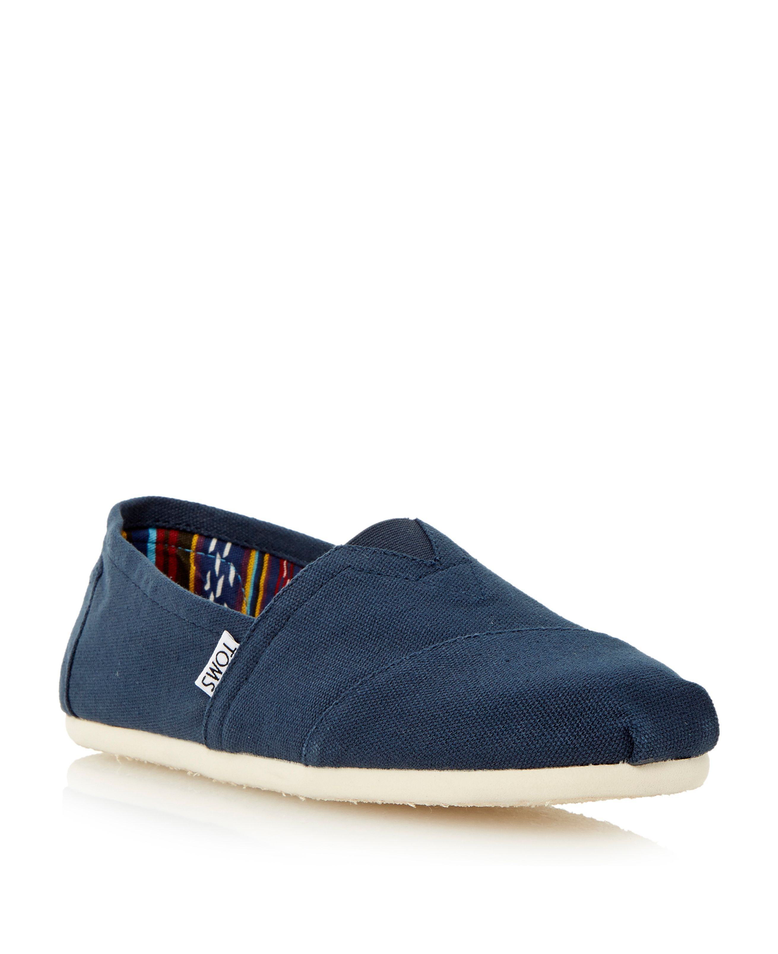 Toms classic slip on espadrilles blue octer for Quality classic house of fraser