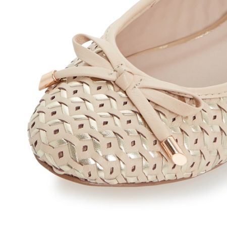Dune Hobbi woven leather ballerina shoes
