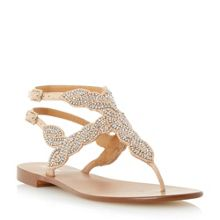 Dune Karper leather beaded toe post sandals