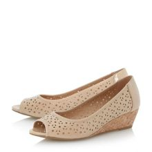 Camelia laser cut peep toe court shoe