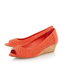 Linea Camelia laser cut peep toe court shoe