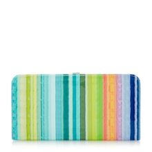 Bloomy patent candy striped clutch bag