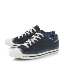 Exposure low denim lace up trainers