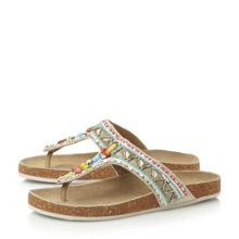 Fiestaa jewelled toe post flat sandals