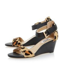 Dune Katy stacked heel low wedge