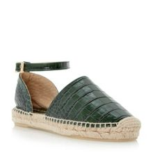 Dune Black Lizzy croc two part espadrille