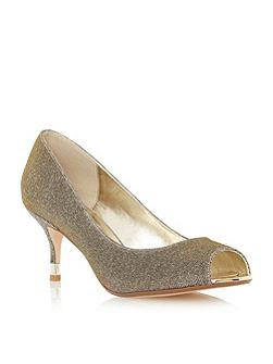 Dune Denise peep toe kitten heel court shoe