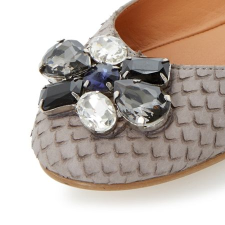 Dune Hubble jewel trim ballerinas