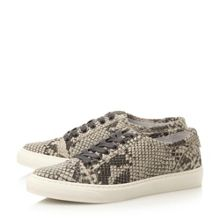 Dune Everlyn reptile print leather trainer