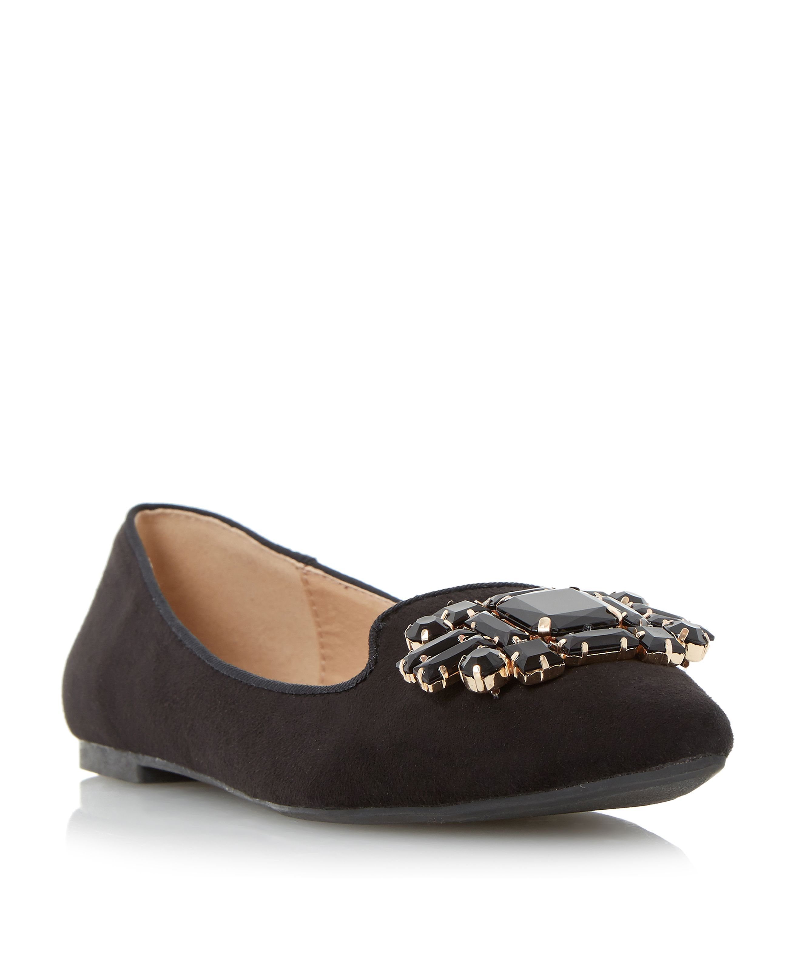 Head Over Heels Loulu pointed trim loafers Black £35.00 AT vintagedancer.com