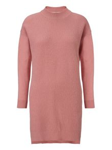 Rib front cashmere mix dress