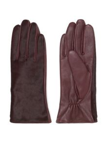 Pony front leather glove