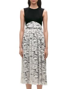 Marble print pleated dress