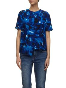Marbled floral shell top