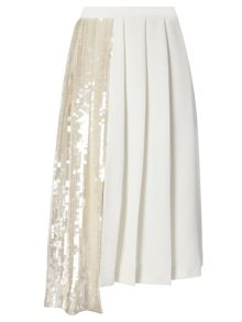 Asymmetric sequin pleat skirt
