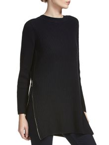 Ribbed side zip tunic