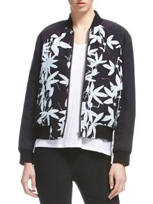 Botanical silk bomber jacket