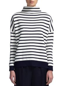 Striped Funnel Neck Knit