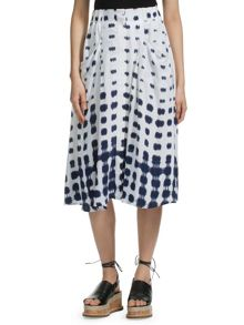 Button Through Shibori Skirt