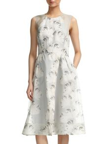 Palm Print Organza Dress
