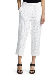 Broidery cropped trousers
