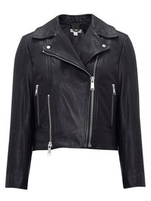 Cara Cropped Leather Biker
