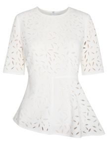 Cut Out Floral Panelled Top