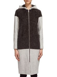 Anna Hooded Boucle Panel Coat