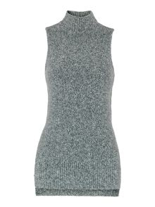 Sleeveless High Neck Knit