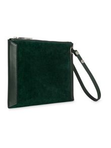 Suede Panel Wristlet Clutch