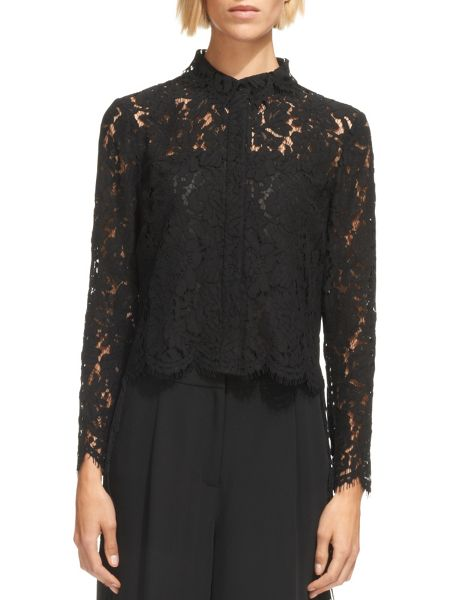 Whistles Chay Lace Cropped Shirt