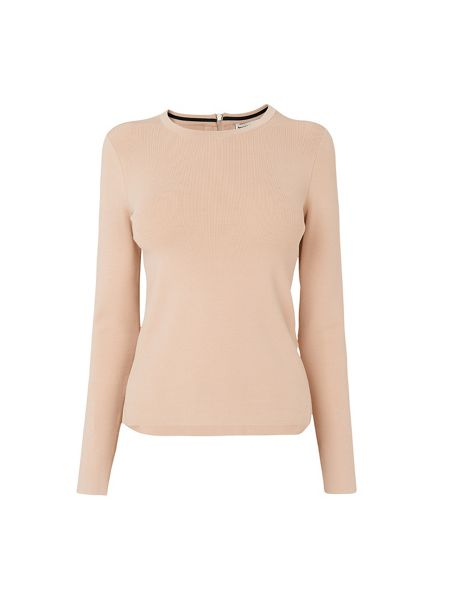 Whistles Nude Zip Back Long Sleeve Knit
