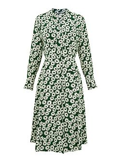 Daisy Print Silk Dress